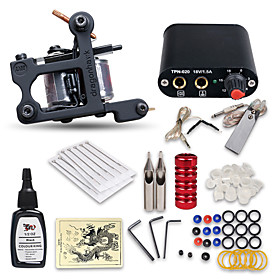 Beginner Tattoo Kit 1 Machine Professional Tattoo Kit 1 Cast Iron Machine Liner  Shader 1 Mini Power Supply 10 Tattoo Needles No Carrying Case