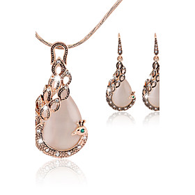 Lucky Doll Women's All Matching Crystal Rose Gold Plated Zirconia Peacock Ne..