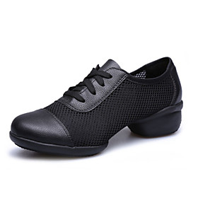 Women's Dance Shoes Sneakers Breathable Leathersurface Low Heel Black/Red