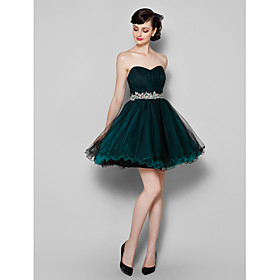 A-Line Sweetheart Knee Length Tulle Cocktail Party / Homecoming / Prom / Company Party / Holiday Dress with Side Draping by TS Couture plus size,  plus size fashion plus size appare