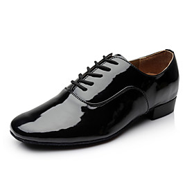 Non Customizable Men's Dance Shoes Modern Leatherette Chunky Heel Black/White