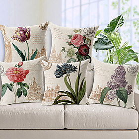 5 pcs Cotton / Linen Pillow Cover, Floral Country