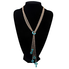 Women's Vintage European Style Fashion Wild Imitation Turquoise Peace Sign Cross Pendant Necklace