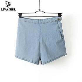 courte mode haut de taille mince jean courte coréen dame douce style livagirlwomen tout correspond casual courte