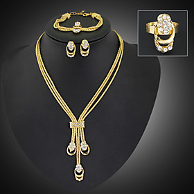 Women's Cubic Zirconia Tassel Jewelry Set - Cubic Zirconia, Gold Plated, Imitation Diamond Statement, Tassel, Party Include Gold For Party Special Occasion Ann