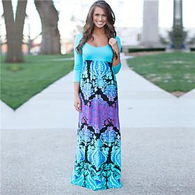 Women's Sexy Casual Print Maxi Inelastic Long Sleeve Maxi Dress (Cotton)