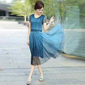 casual robe de midi à manches courtes inélastique des femmes