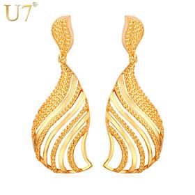 U7 Women's Fashion Gold Women Jewelry 18K Real Gold/Platinum Plated Hollow W..