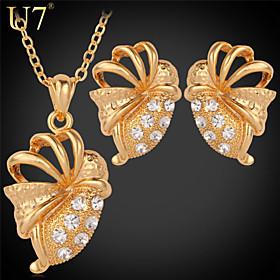 U7 Women's Fancy Bees Shape Cute Earrings 18K Real Gold Plated Clear Rhinest..