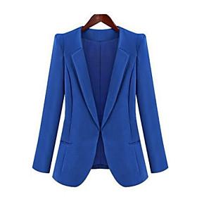 Women's Fall Blazer,Solid Long Sleeve Blue / Black Medium 4196926