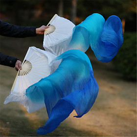 Hot Selling Belly Dance 100% Real Silk Fan Veils Silk Fabric White/Sky Blue/Blue 2pcs/LR