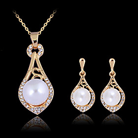May Polly  Exquisite 18K Gold Pearl Necklace Earrings Set
