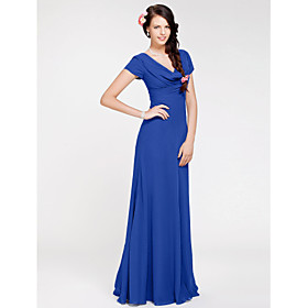 LAN TING BRIDE Floor-length Georgette Bridesmaid Dress - Sheath / Column Cowl Plus Size / Petite with Side Draping plus size,  plus size fashion plus size appare