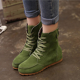 Women's Shoes Faux Suede Wedge Heel Bootie/Comfort Boots Casual Black/Green/Red/Khaki