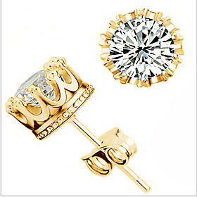Women's Cubic Zirconia Stud Earrings - Zircon, Cubic Zirconia Crown Party, Work, Casual Gold For Wedding Party Daily