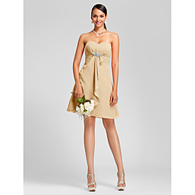 LAN TING BRIDE Knee-length Strapless Sweetheart Bridesmaid Dress - Sexy Sleeveless Chiffon