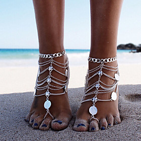 Retro Women Beach Heavy Metal Punk Coin Multilayer Tassel Chain Single Anklets