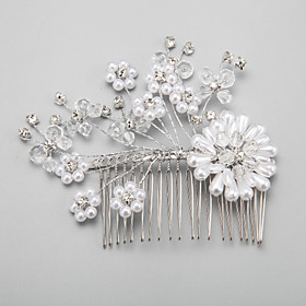 Women's / Flower Girl's Rhinestone / Alloy / Imitation Pearl Headpiece-Wedding / Special Occasion Hair Combs 1 Piece 4047544