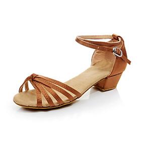 Non Customizable Women's/Kids' Dance Shoes Latin Flocking Chunky Heel Black/Blue/Brown/Red