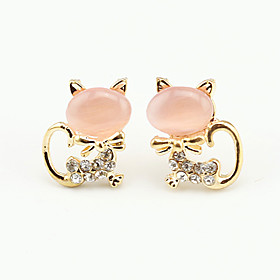 KAILA Fashion Intersect Water-drop Shape Diamante Rhinestone Drop Earrings