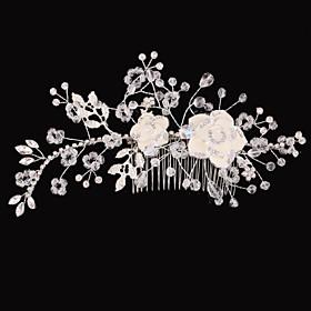 Vintage Charming Design Wedding Bride Handmake Headband Necklace Cown Pearls Hair Accessior Flower Silver