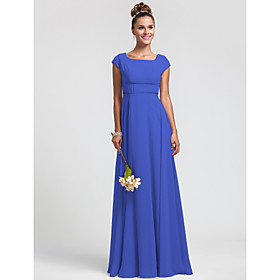 LAN TING BRIDE Floor-length Chiffon Bridesmaid Dress - Sheath / Column Square Plus Size / Petite plus size,  plus size fashion plus size appare