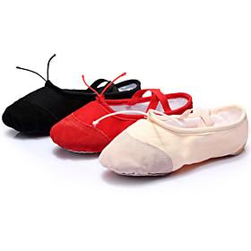 Customizable Women's Dance Shoes Ballet/Latin/Yoga/Dance Sneakers Canvas Flat Heel Black/Pink/Red
