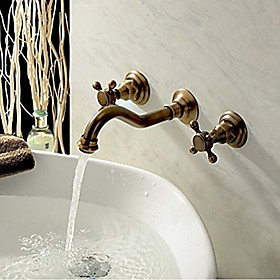 Bathroom Sink Faucet Widespread Antique Copper Wall Mounted Three Holes / Two Handles Three HolesBath Taps
