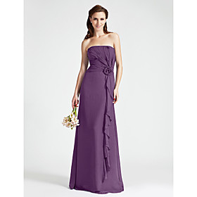 Floor-length Strapless Bridesmaid Dress - Floral Sleeveless Chiffon plus size,  plus size fashion plus size appare