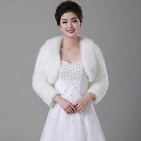 Wedding  Wraps / Fur Wraps Coats/Jackets Long Sleeve Faux Fur White Wedding Wide collar Feathers / fur