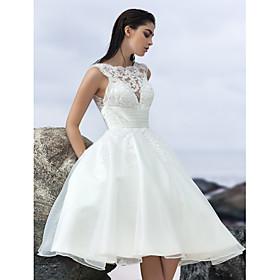 Lanting Bride A-line Wedding Dress-Knee-length Jewel Organza thumbnail