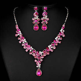 Women's White Cubic Zirconia Jewelry Set Cubic Zirconia Include Fuchsia For Wedding Party Special Occasion Anniversary Engagement