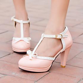 Women's Shoes Leatherette Cone Heel Heels / Platform Heels Office  Career / Dress / Casual Black / Pink / Red