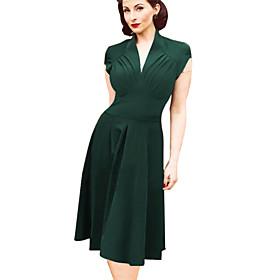 Womens V Neck Dress  KnitwearElastic Knee-length Short Sleeve $15.99 AT vintagedancer.com