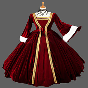 Image of One-Piece/Dress Gothic Lolita Steampunk / Victorian Cosplay Lolita Dress Red Vintage Long Sleeve Long Length Dress For WomenLace /