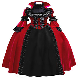 Image of One-Piece/Dress Gothic Lolita Steampunk / Vintage Inspired Cosplay Lolita Dress Red Vintage Long Sleeve Long Length Dress For WomenLace