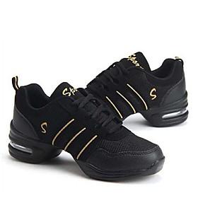 Non Customizable Women's Dance Shoes Dance Sneakers Leather/Fabric Chunky Heel Purple/White