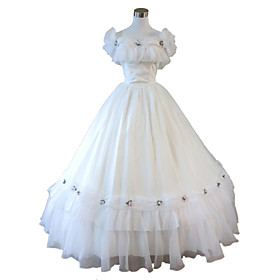 One-Piece/Dress Gothic Lolita Steampunk Cosplay Lolita Dress White Solid Sleeveless Long Length Dress For WomenOrganza / Lace / Terylene