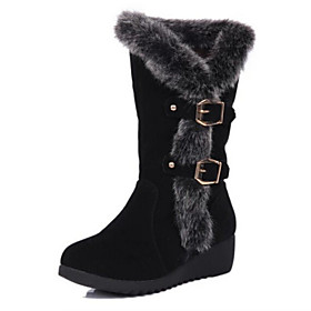 Women's Shoes Suede Wedge Heel Snow Boots / Round Toe Boots Casual Black / Brown