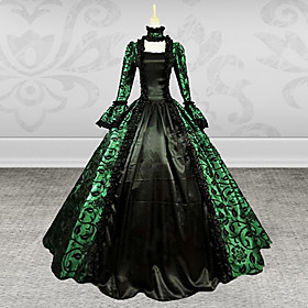 Image of One-Piece/Dress Gothic Lolita Steampunk / Vintage Cosplay Lolita Dress Green Lady Long Sleeves Printing Satin Dress Long Length Dress For Women