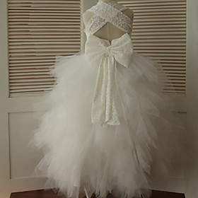 Ball Gown Ankle-length Flower Girl Dress - Lace / Tulle Sleeveless Straps with