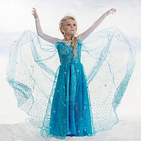 Girl's Blue Dress , Cartoon Acrylic / Cotton / Organza All Seasons