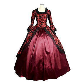 One-Piece Ball Gown Gothic Lolita Steampunk/Vintage/Victorian Cosplay Lolita Dress Red Long Length Dress For Women Prom Reenactment Theatre Clothing