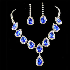 Crystal Tassel Jewelry Set - Cubic Zirconia, Imitation Diamond Party, Fashion, Colorful Include Gold / Blue For Party Special Occasion Anniversary / Earrings /