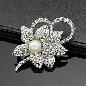 Women's Silver AAA Zircon Crystal Brooch  Pins for Wedding Party Jewelry