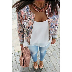 Kaley Women's Print Tops  Blouses , Casual Round Long Sleeve