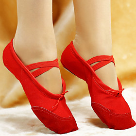 Non Customizable Women's Dance Shoes Ballet Leather/Canvas Flat Heel Black/Pink/Red/White