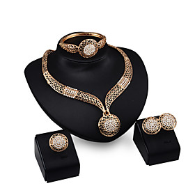 Hollow Luxury Bride Dinner Golden Printing Diamond  Jewelry Sets Necklace Ea..