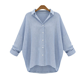Women's Solid Blue / Gray Shirt , Shirt Collar Long Sleeve