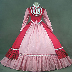Image of One-Piece/Dress Gothic Lolita Steampunk / Victorian Cosplay Lolita Dress Red Patchwork / Vintage Long Sleeve Long Length Dress For Women